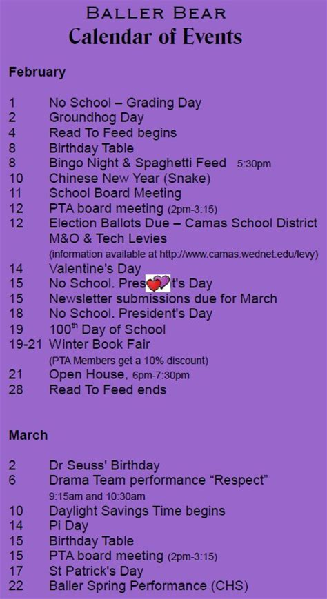 Camas School District Calendar Upcoming Events Helen Baller Elementary