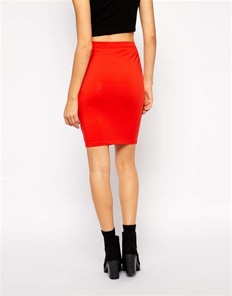 asos knee length pencil skirt in jersey in lyst