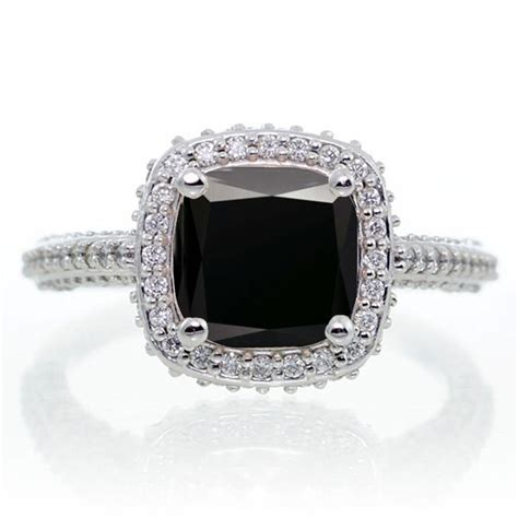 1 5 carat cushion cut designer black and