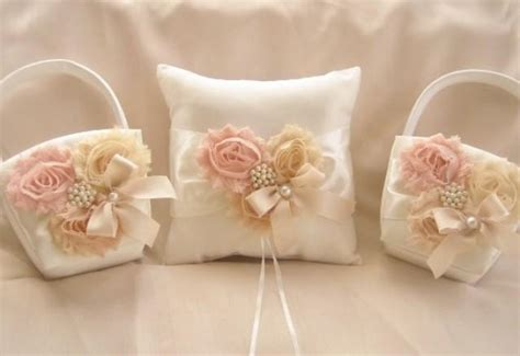 Ring Pillows And Flower Baskets by Two Flower Baskets And Pillow Blush Blossom Ivory Ring Bearer Pillow Flower