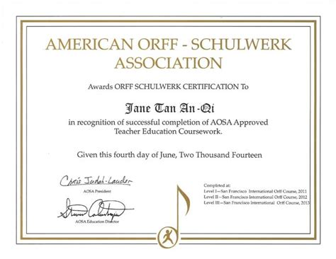 certificate of completion american orff schulwerk