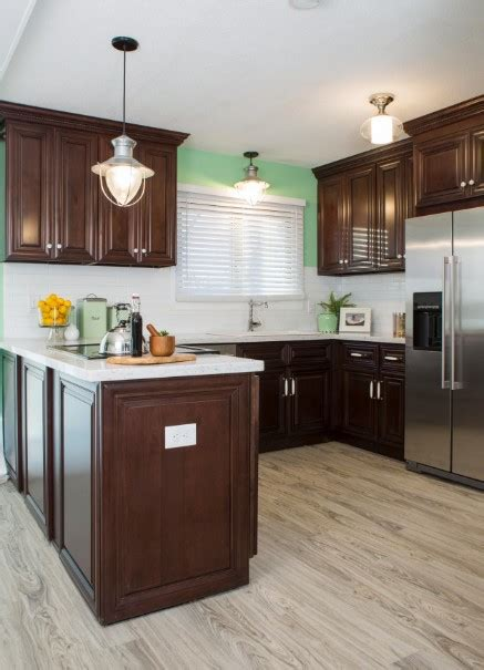 cherry cabinets wall color cherry kitchen cabinets with gray wall and quartz