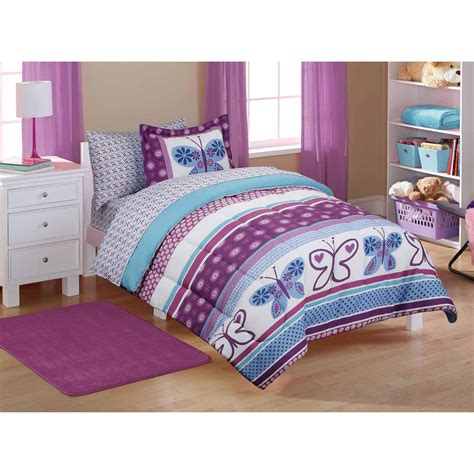 walmart bed comforters purple kids bedding walmart com mainstays butterfly