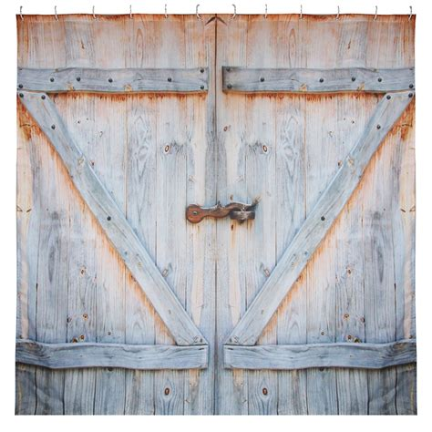 Rustic Country Decor Fabric Shower Curtain Barn Shed Farm Barn Door Curtains