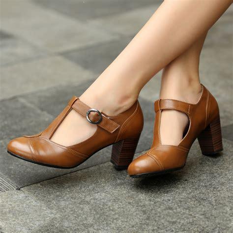 vintage high heels shoes 2016 new retro t chunky high heels