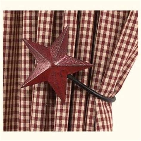 star curtain tie backs set of 2 burgundy barn star curtain tie backs hooks
