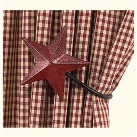 primitive star curtains set of 2 burgundy barn star curtain tie backs hooks