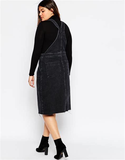 lyst asos curve midi denim pinafore dress with hem