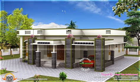 House Floor Single Floor House Flat Roof Kerala Home Design And