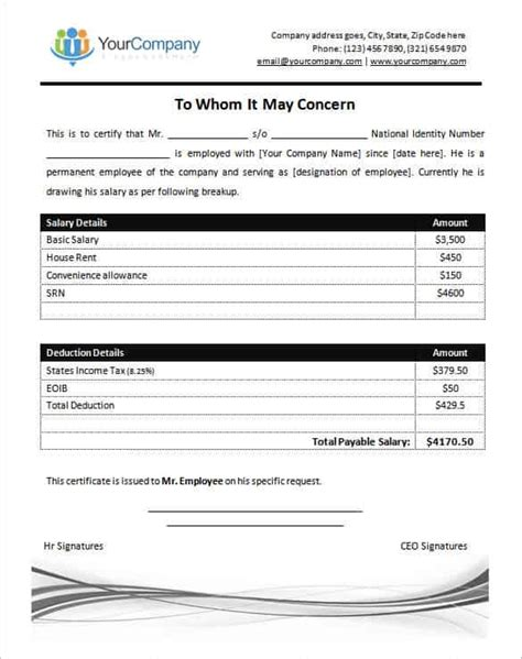 salary certificate template 14 free word excel pdf