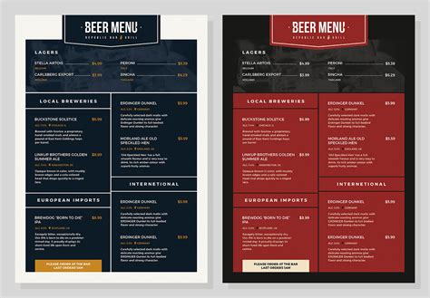 free beer menu template for photoshop illustrator