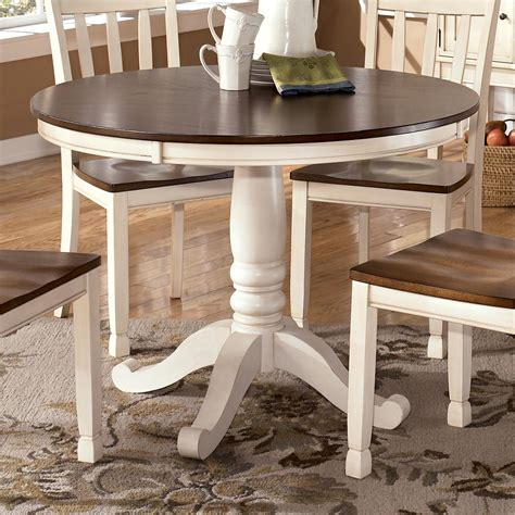 Two Tone Round Table with Pedestal Base by Signature
