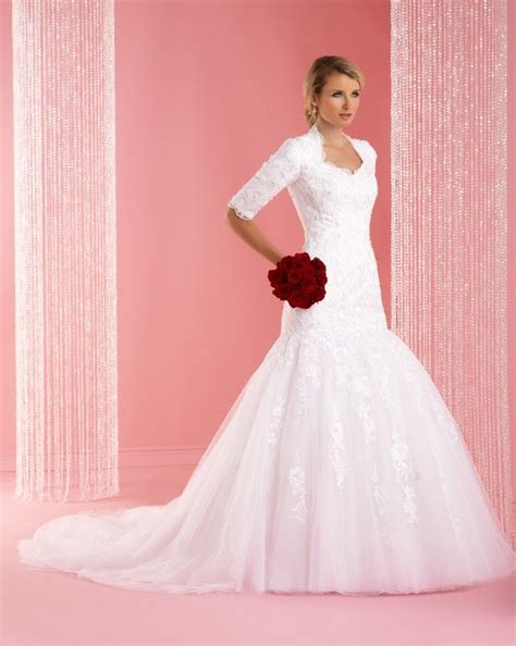 modest lace wedding dresses with sleeves modest lace wedding dress with 3 4 sleevescherry marry