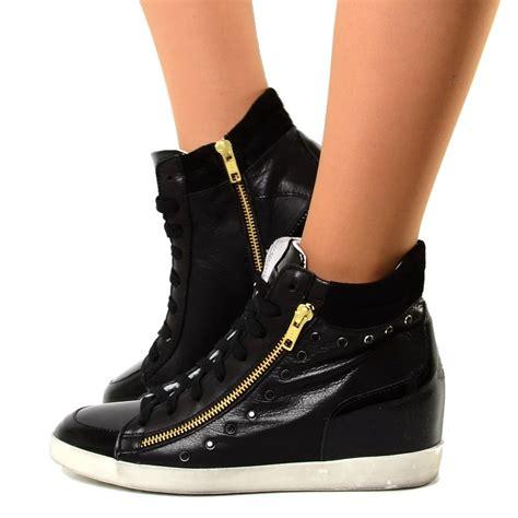 sneakers alte con zeppa interna sneakers alte donna con zeppa interna in pelle con strass