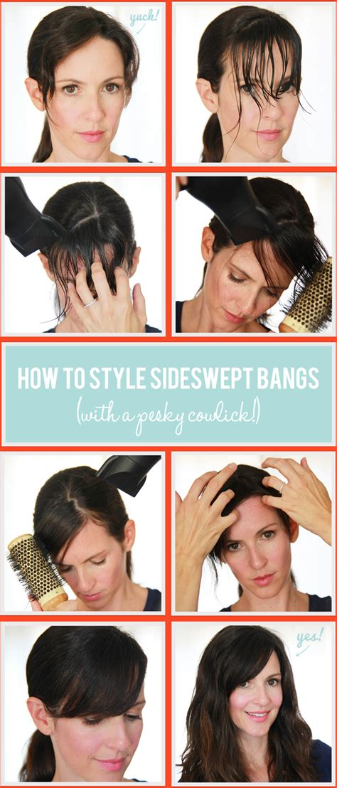 how to style your bangs or fringe to hide it as you grow sideswept bangs control your cowlicks whoorl
