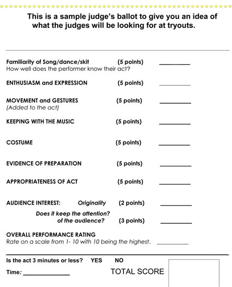 talent show score card template printable talent show score sheets in pdf