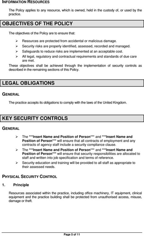 physical access policy template physical security policy template for free page