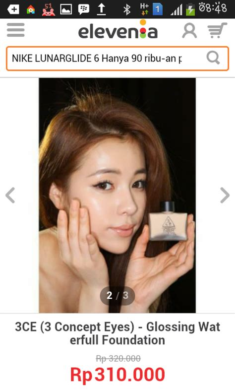 3ce Glossing Waterfull Foundation chu box challenge by elevenia