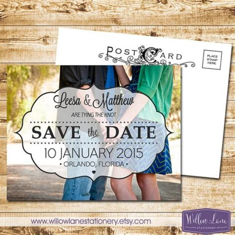 customizable save the date card templates custom photo save the date postcard whimsical vintage