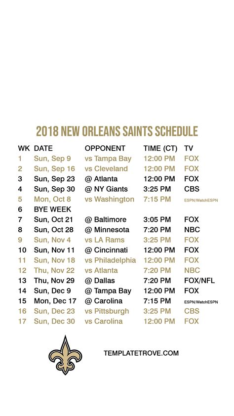 orleans saints lock screen schedule
