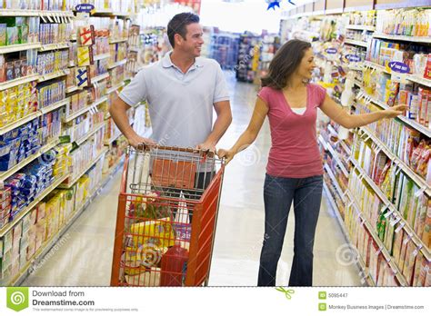 shopping in supermarket royalty free stock