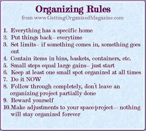 organizing yourself 10 organizing rules to follow