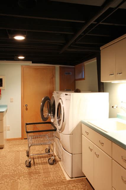 basement ceiling 7 prepossessing laundry room ideas new at basement ceiling 7 mid century home contemporary laundry room chicago by a better home