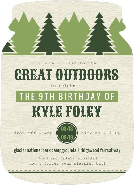 Bday Decorations At Home Green Outdoor Adventure Slumber Party Invitation Kids