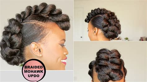 Mohawk Hairstyle For Black Tutorial by Braided Mohawk Style Updo Hair Tutorial Black