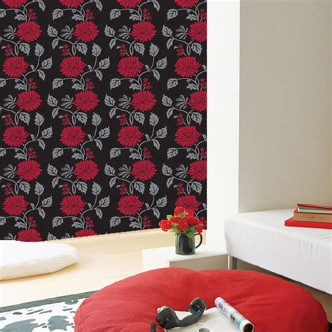 red peel and stick wallpaper red flower black contact paper peel and stick wallpaper