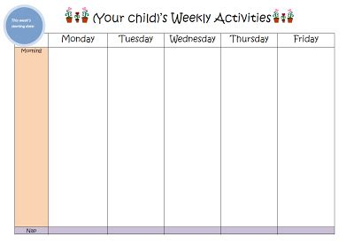 weekly activity planner template weekly activity planner play based learning kid