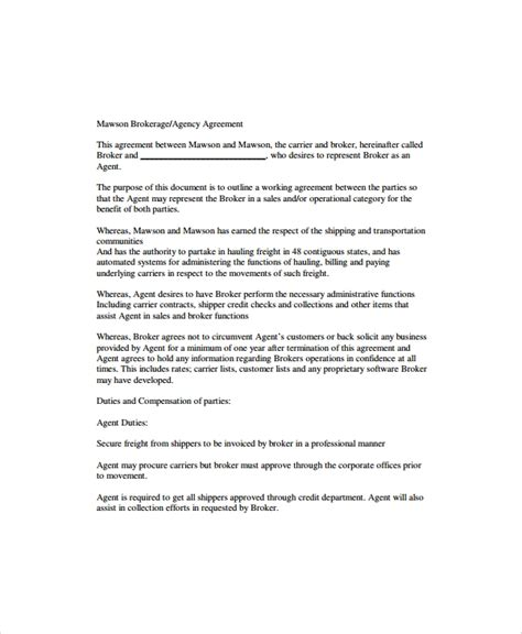 9 Business Agency Agreements Sle Templates Business Broker Agreement Template