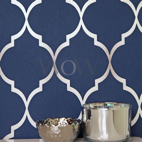 metallic blue wallpaper uk rasch fretwork geometric trellis wallpaper textured