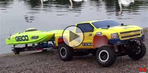 rc trucks with boats rc speed boat launch with an rc traxxas truck