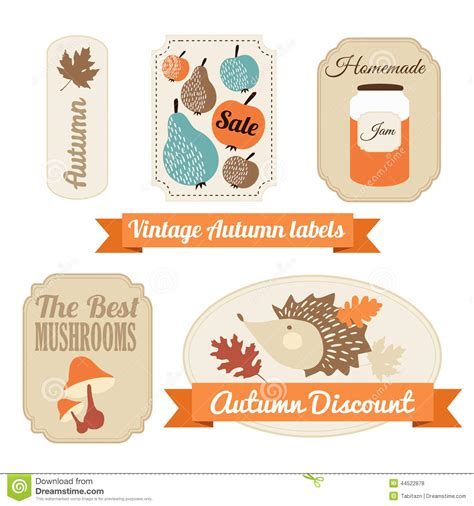 printable autumn name tags set of vintage autumn fall labels tags stickers stock