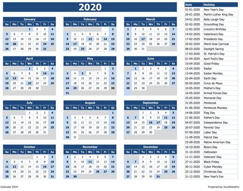 yearly calendar sun start excel template exceldatapro