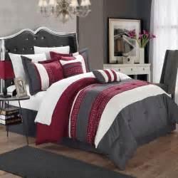 carlton burgundy grey white king 6 piece comforter bed