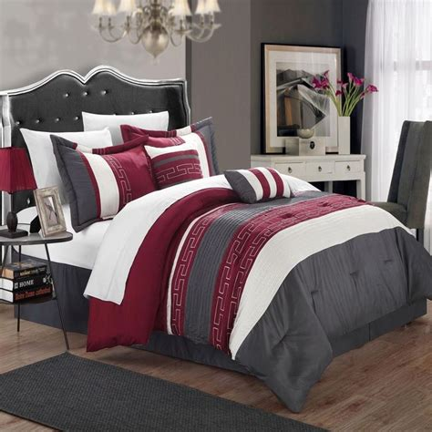 Burgundy Bed Sets Carlton Burgundy Grey White King 6 Comforter Bed In A Bag Set Grey Walls Bags And