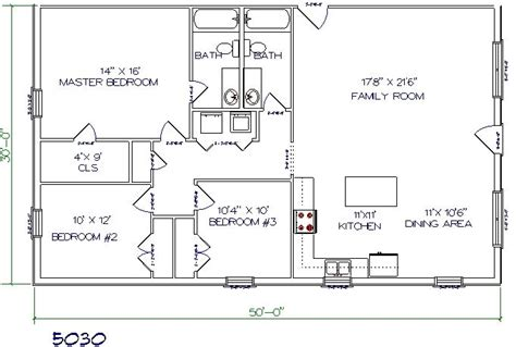 metal barn house floor plans barndominiums 3bed 2 bath 50 x30 1500 sq ft modify master bath and laundry closet