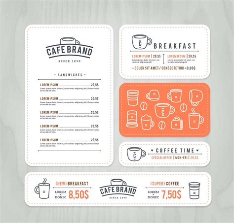 menu card templates vector free cafe brand menu cards set vector free