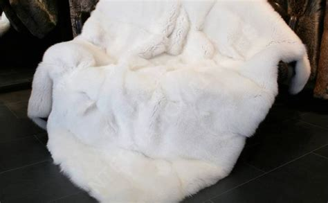 White Fur Throw Rug by White Faux Fur Fur World