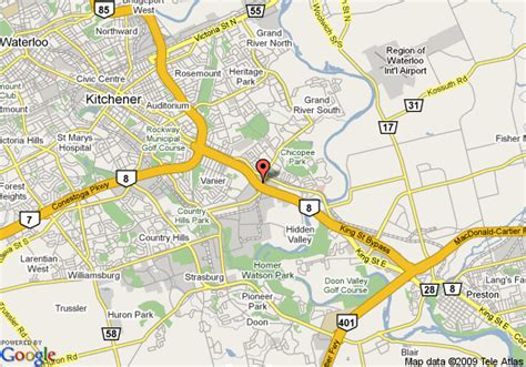 Kitchener Waterloo Area by Map Of Inn Kitchener Waterloo Kitchener