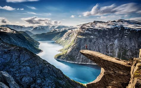 fjord water nature landscape fjord norway canyon cliff snow