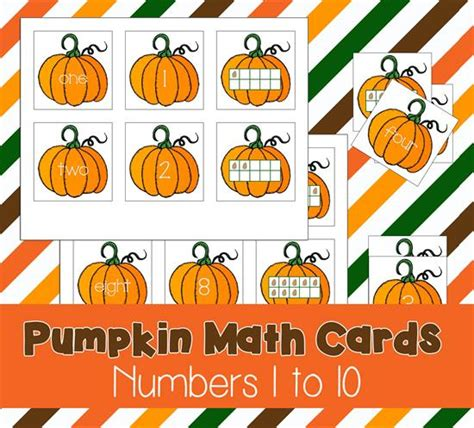 printable pumpkin number cards free printable preschool pumpkin math cards numbers 1 10