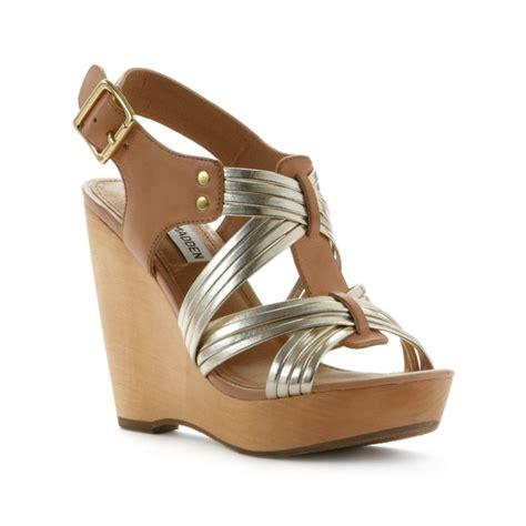 madden wedge sandals steve madden taa wedge sandals in beige lyst