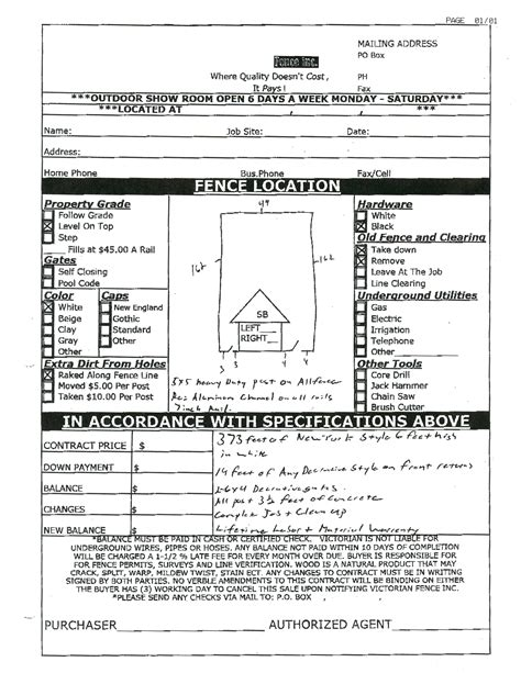 Fence Estimate Template Fence Estimate Template Rota Template