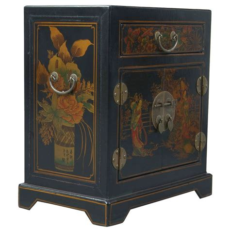 Oriental Accent Tables | black leather hand painted oriental accent table