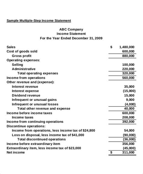 multi step income statement template excel multi step income statement 14 free word pdf excel
