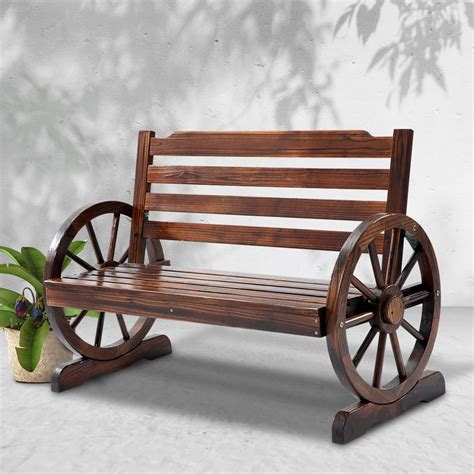gardeon wooden wagon wheel bench brown bargainsgo