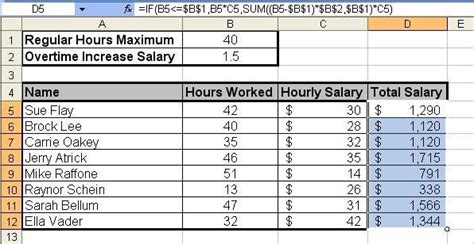 printable worksheets for overtime and regular pay tom s tutorials for excel calculating salary overtime